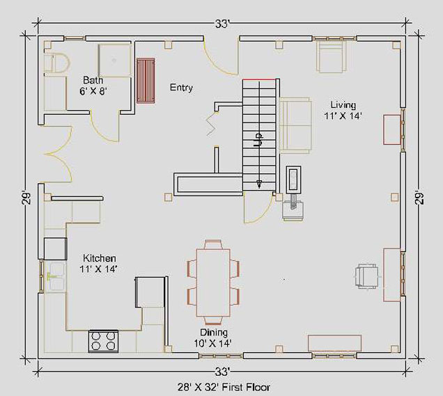 28'x32' Cape First Floor Floorplan