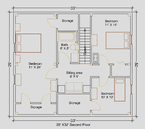 28'x32' Cape Second Floor Floorplan